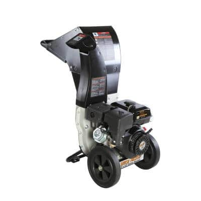 5.25 x 3.75 in. 445cc Self Feed Gas Chipper Shredder with 120V Electric Start, Unique 3-in-1 Discharge, Safety Goggles