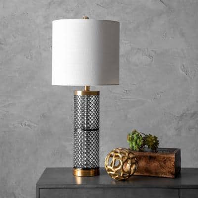 Newport 31 in. Black Contemporary Table Lamp, Dimmable