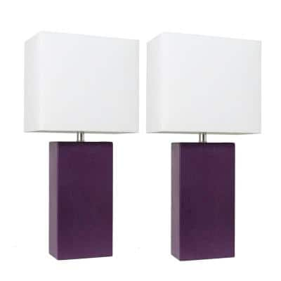 21 in. Modern Eggplant Leather Table Lamps with White Fabric Shades (2-Pack)