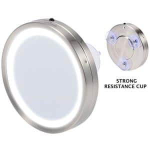 6 in. x 1.3 in. Modern Round Framed LED Lighted Vanity Mirror with 3 Suction Cups for Wall & Other Flat Surface Mounting