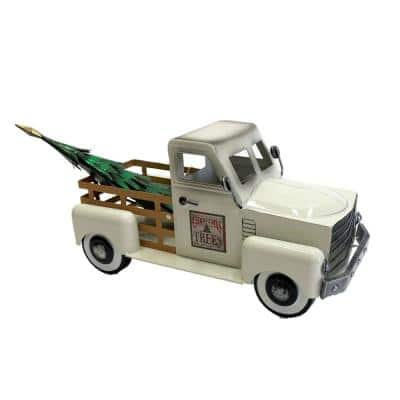 10 in. Tall Small Iron Cream Truck with Christmas Tree