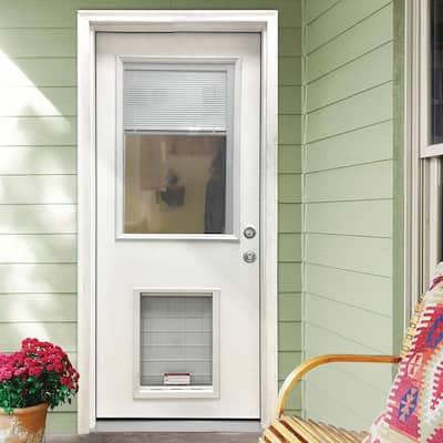 31-3/4 in. x 79 in. Clear Half Lite Mini-Blind White Primed Fiberglass Front Door Slab with Super Large Pet Door