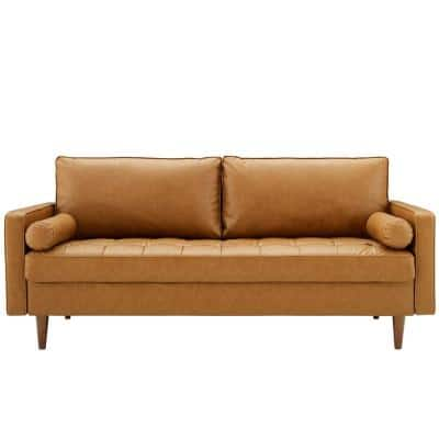 Valour 73 in. Tan Faux Leather 3-Seater Tuxedo Sofa with Square Arms
