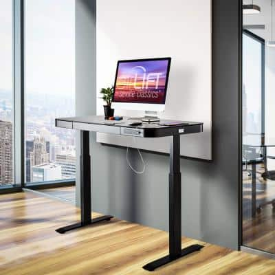 airLIFT 47.5 in. Black Rectangular 1-Drawer Electric Standing Desk with Adjustable Height