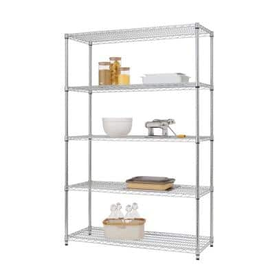 Chrome 5-Tier Steel Wire Shelving Unit (48 in. W x 72 in. H x 18 in. D)