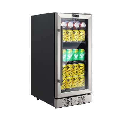 15 in. Single Zone 84-Can Capacity (3.0 cu. ft.) Built-in/Freestanding Beverage Refrigerator in Stainless Steel