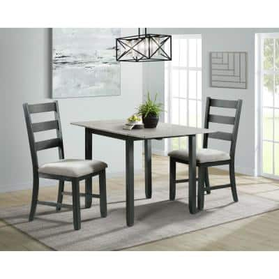 Tuttle 3-Piece Drop Leaf Dining Set in Gray Table and 2-Chairs
