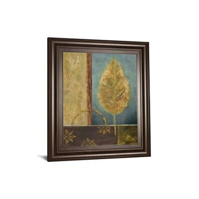 """""""Azure Leaf"""" By Viola Lee Framed Print Wall Art 26 in. x 22 in."""
