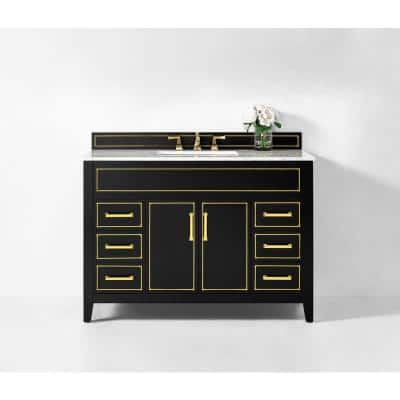 Aspen 48 in. W x 22 in. D Black Onyx Bath Vanity with Vanity Top in Carrara White Marble with White Basin