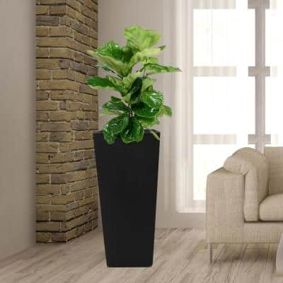 30 in. H Composite Tall Tapered Square Planter in Matte Black