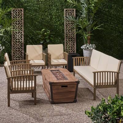 Carolina Grey 7-Piece Wood Patio Fire Pit Seating Set with Cream Cushions