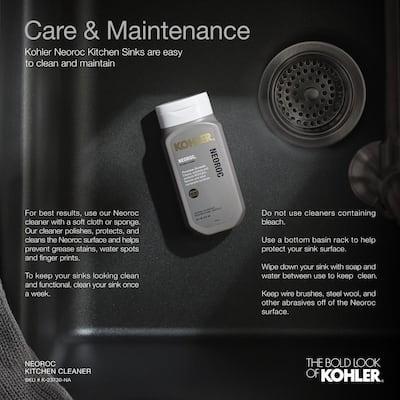 Cairn 27-1/2 in. x 18-5/16 in. x 9-1/2 in. Neoroc Granite Composite Undermount Single-Bowl Kitchen Sink In Matte Black
