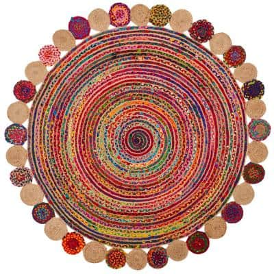 Cape Cod Red/Multi 5 ft. x 5 ft. Round Border Area Rug