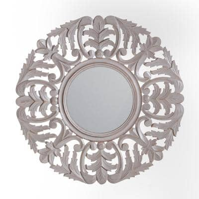 30 in. x 30 in. Bohemian Round Framed Tagen Grey Carved Accent Mirror