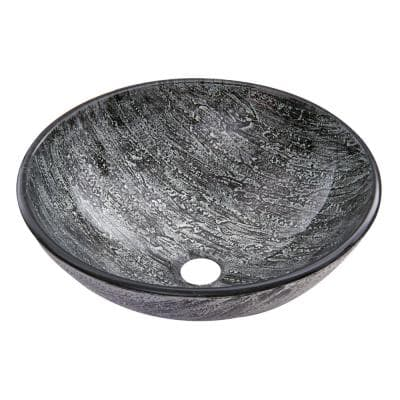 Glass Round Vessel Bathroom Sink in Titanium Gray