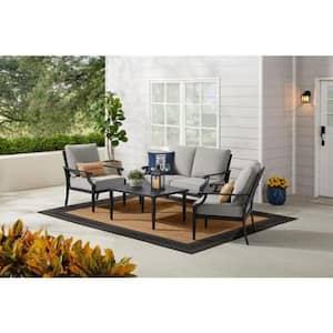 Braxton Park 4-Piece Black Steel Outdoor Patio Conversation Deep Seating Set with CushionGuard Stone Gray Cushions