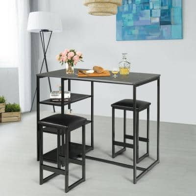 Black 3-Piece Dining Set with Faux Marble Top Table and Upholstered Stools