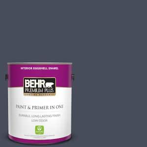 Behr Premium Plus 1 Gal S510 7 Dark Denim Eggshell Enamel Low Odor Interior Paint And Primer In One 230001 The Home Depot