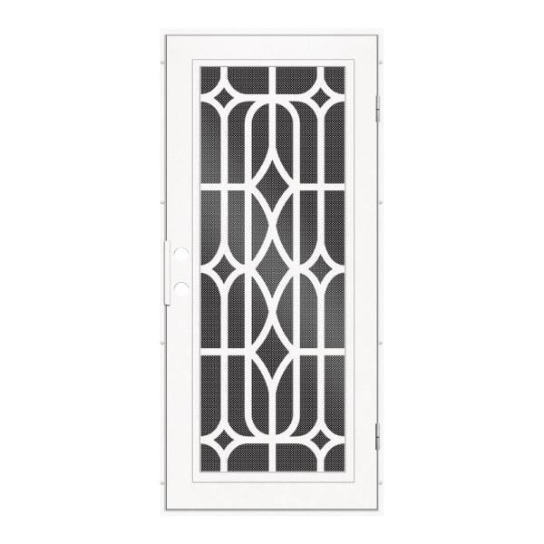 Unique Home Designs 30 In X 80 In Essex White Left Hand Surface Mount Security Door With Black Perforated Metal Screen 1s1501cl1whp5a The Home Depot