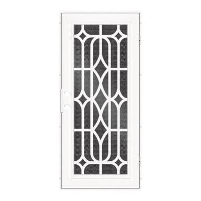 36 in. x 80 in. Essex White Left-Hand Surface Mount Security Door with Black Perforated Metal Screen
