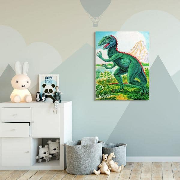 Stupell Industries Dinosaur Field Red Green Kids Nursery Painting By The Saturday Evening Post Canvas Wall Art 48 In X 36 In Brp 2507 Cn 36x48 The Home Depot