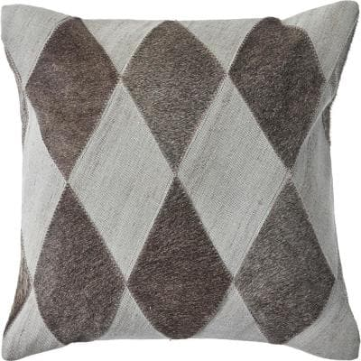Geometric Silver Gray / Brown Diamond Soft Poly-Fill 20 in. x 20 in. Throw Pillow