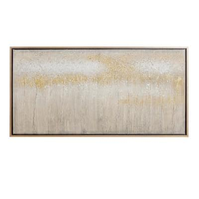Contemporary Abstract Gold Wood Framed Canvas Wall Art
