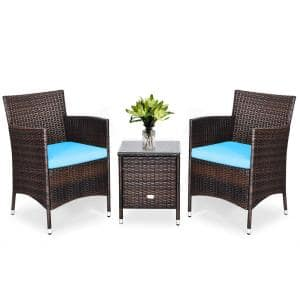 3-Piece PE Rattan Wicker Patio Conversation Set Outdoor Chairs and Coffee Table with Turquoise Cushion