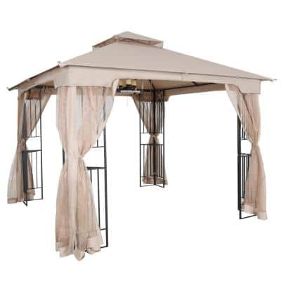 10 ft. x 10 ft. Khaki Soft Top Steel Outdoor Patio Gazebo with Netting and Shelves