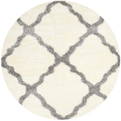 Montreal Shag Ivory/Gray 7 ft. x 7 ft. Round Geometric Area Rug