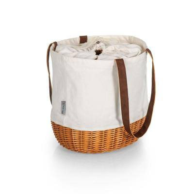 Coronado Beige Canvas and Willow Basket Tote