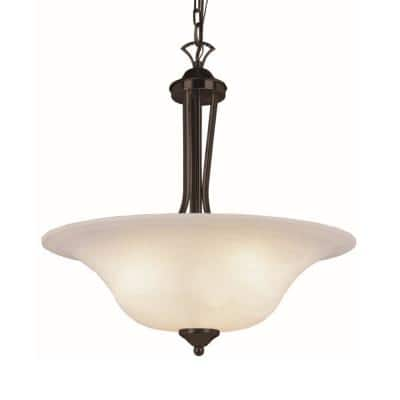 Aspen 3-Light Rubbed Oil Bronze Inverted Bell Pendant with Marbleized Glass Shade