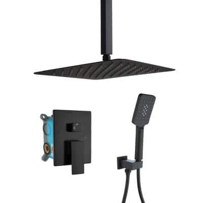 Ceiling Mounted 12 in. Rain Shower Head 0-Jet High Pressure Shower Combo with 2-Functions Shower System in Black
