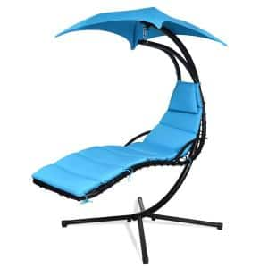 Patio Hammock Swing Chair Hanging Chaise with Cushion Pillow Canopy Blue