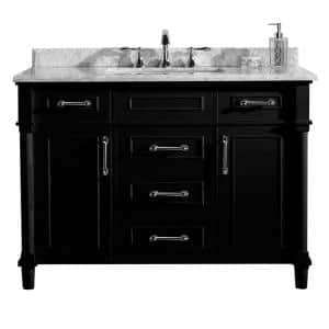 Aberdeen 48 in. W x 22 in. D Vanity in Black with Carrara Marble Top with White Sink