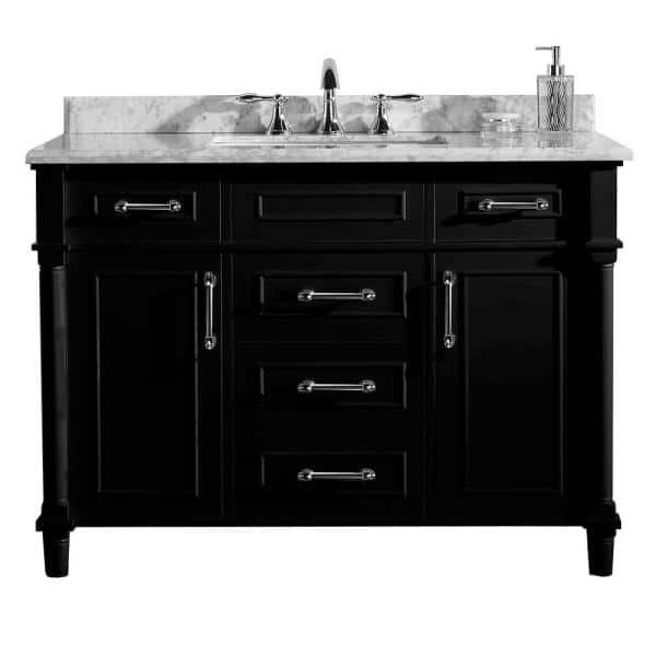 Home Decorators Collection Aberdeen 48 In W X 22 In D Vanity In Black With Carrara Marble Top With White Sink Aberdeen 48b The Home Depot
