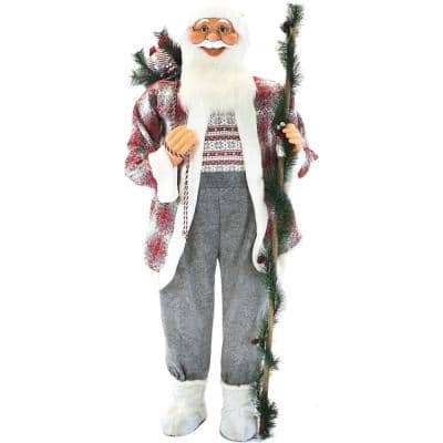 5 ft. Christmas Standing Santa Claus Holding a Staff and Wearing a Tweed Jacket with White Fur Trim