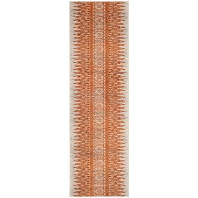 Evoke Ivory/Orange 2 ft. x 11 ft. Runner Rug