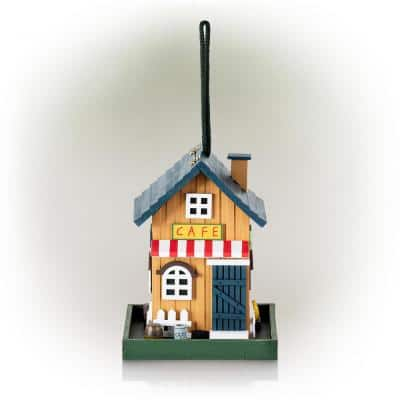 9 in. Tall Outdoor Hanging Colorful Bird Feeder, Café