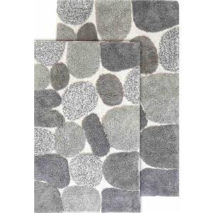 2 Piece Pebbles Bath Rug Set - 21''x34'' & 24''x40'' - Grey