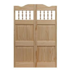 36 in. x 42 in. Royal Orleans Spindle-Top Wood Saloon Door