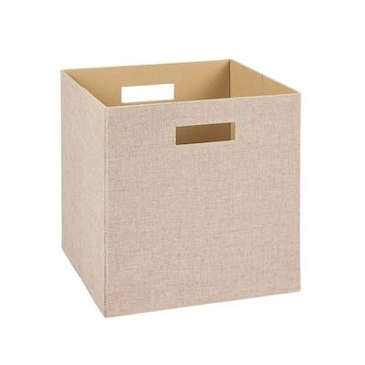 13 in. D x 13 in. H x 13 in. W Tan Fabric Cube Storage Bin