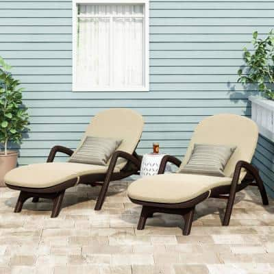 Mikael Dark Brown 2-Piece Plastic Outdoor Chaise Lounge with Beige Cushion