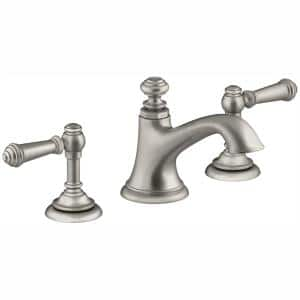 Artifacts 8 in. Widespread 2-Handle Bell Design Bathroom Faucet in Vibrant Brushed Nickel with Lever Handles