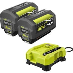 40V Lithium-Ion 6.0 Ah High Capacity Battery and Rapid Charger Starter Kit (2-Batteries)