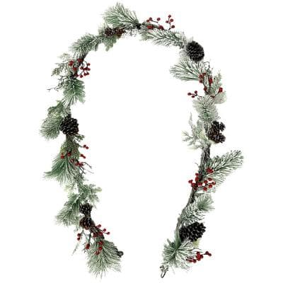 9 ft. Artificial Frosted Pine Garland with Red Berries and Pinecones