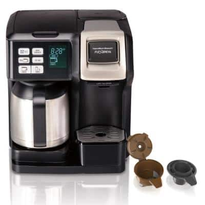 Flex Brew 2-Way 10-Cup Black Drip Coffee Maker with Thermal Carafe