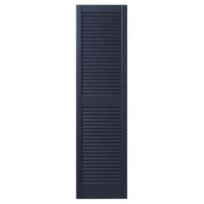 15 in. x 55 in. Open Louvered Polypropylene Shutters Pair in Dark Navy