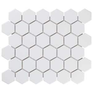 Metro 2'' Hex Matte White 11-1/8 in. x 12-5/8 in. Porcelain Mosaic (9.96 sq. ft. /Case)