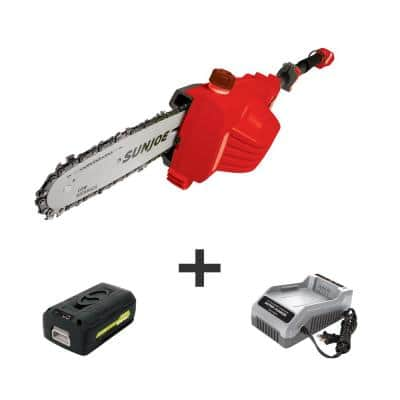 8 in. 40-Volt Electric Cordless Telescoping Pole Saw Kit with 2.5 Ah Battery + Charger, Red
